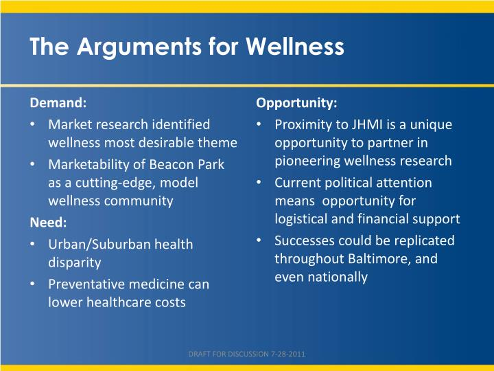 The Arguments for Wellness