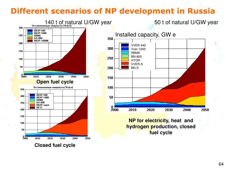 Different scenarios of NP development in Russia