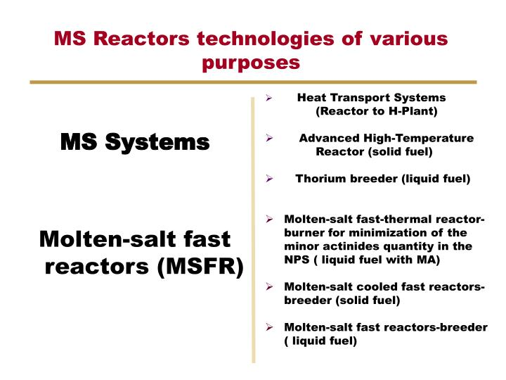 MS Reactors technologies of various purposes