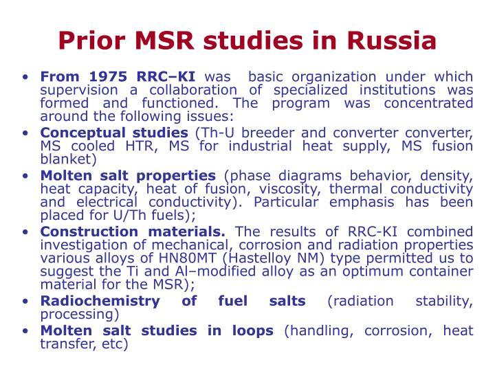 Prior MSR studies in Russia