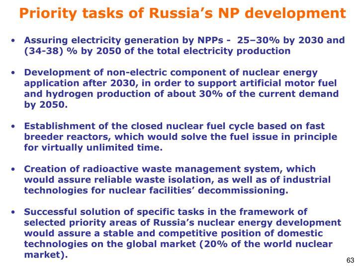 Priority tasks of Russia's NP development