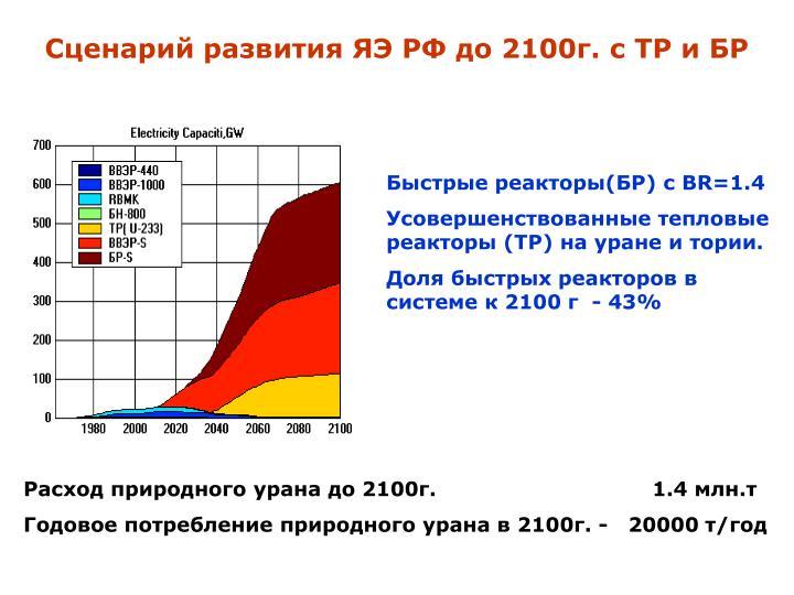 Сценарий развития ЯЭ РФ до 2100г. с ТР и БР