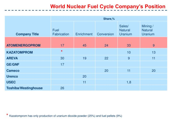 World Nuclear Fuel Cycle Company's Position