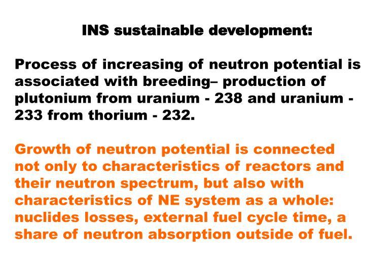 INS sustainable development: