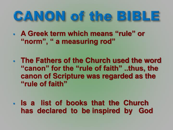 canon of the bible n.