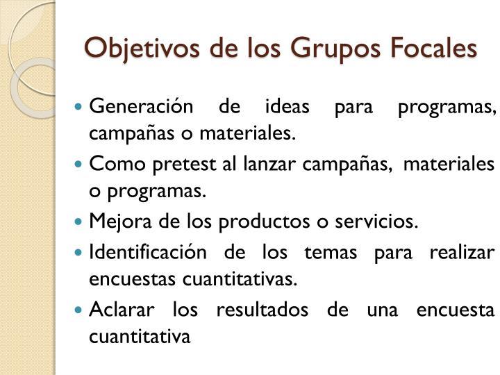 Objetivos de los grupos focales