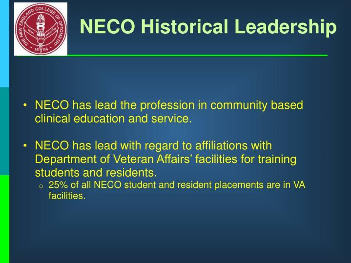 NECO Historical Leadership