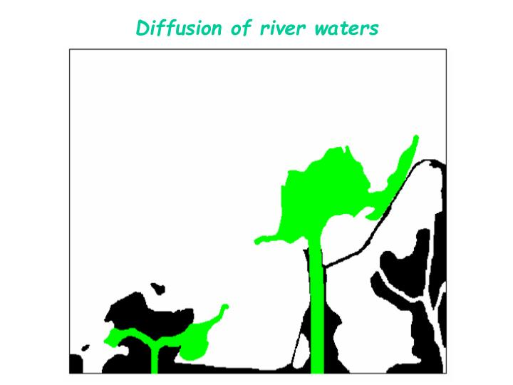 Diffusion of river waters