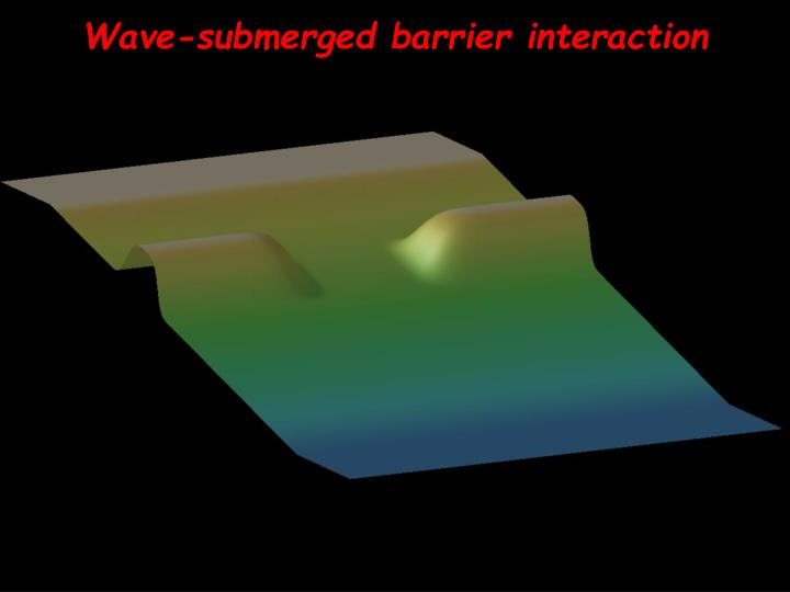 Wave-submerged barrier interaction
