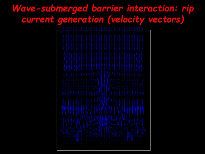 Wave-submerged barrier interaction: rip current generation (velocity vectors)