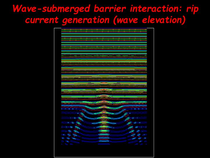 Wave-submerged barrier interaction: rip current generation (wave elevation)
