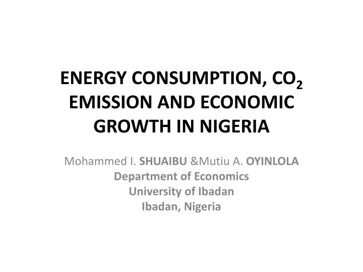 energy consumption co 2 emission and economic growth in nigeria n.