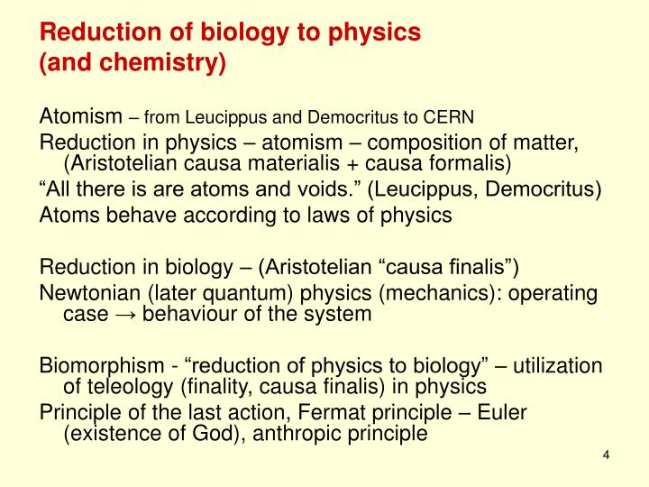 Reduction of biology to physics