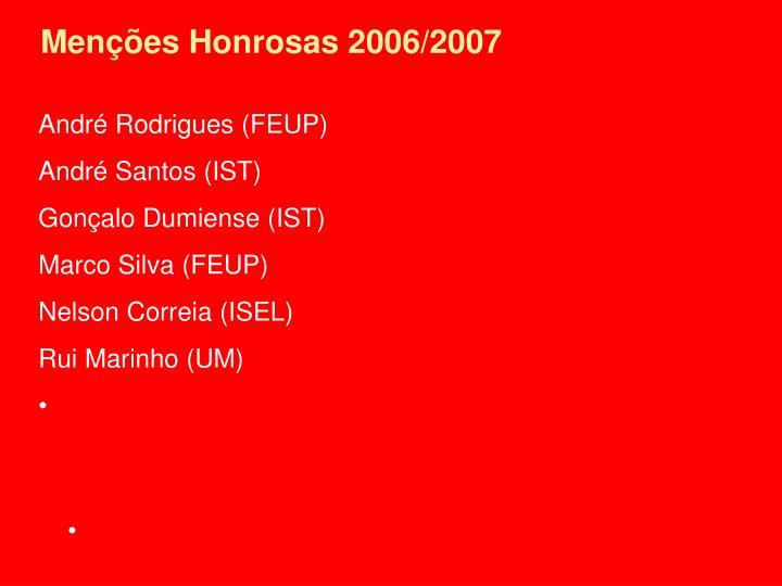 Menções Honrosas 2006/2007