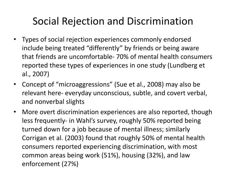 Social Rejection and Discrimination