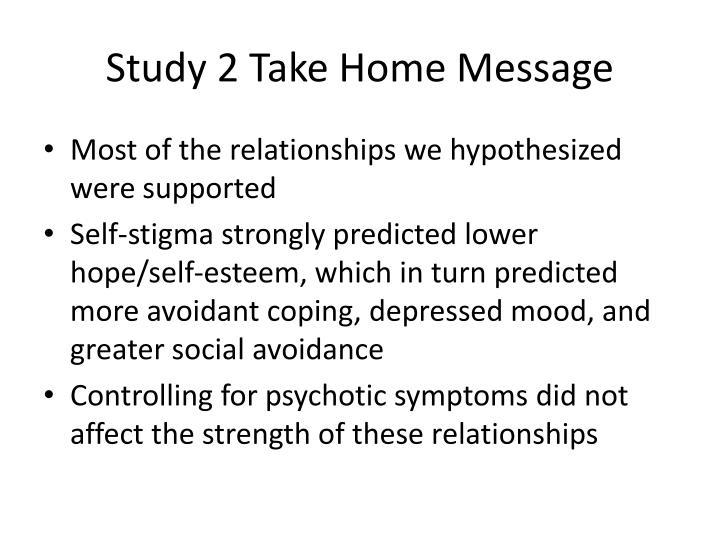 Study 2 Take Home Message