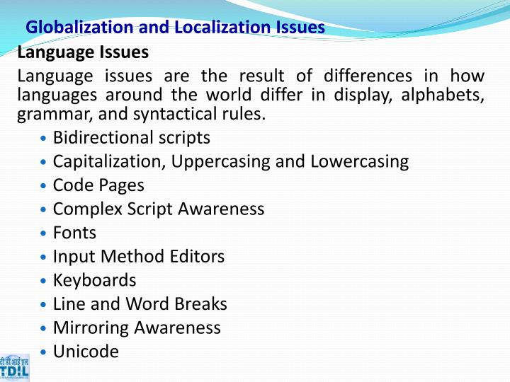 Globalization and Localization Issues