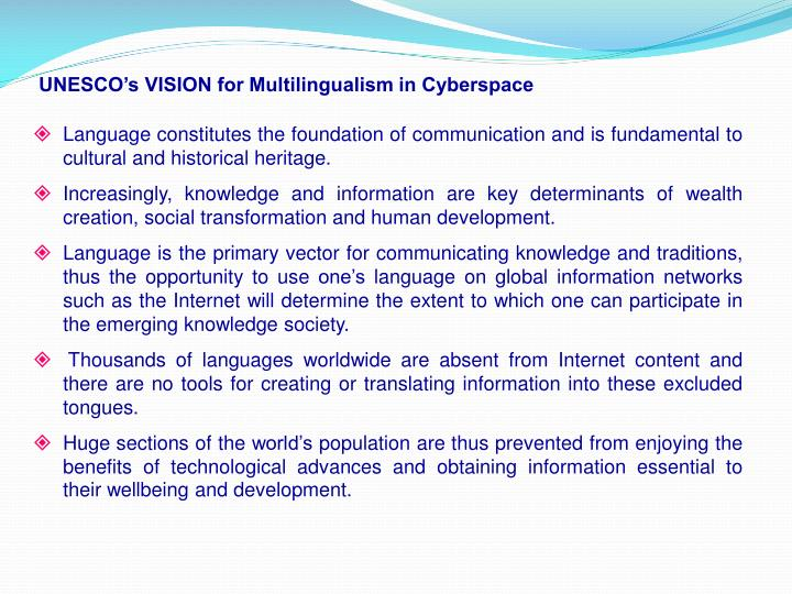 UNESCO's VISION for Multilingualism in Cyberspace