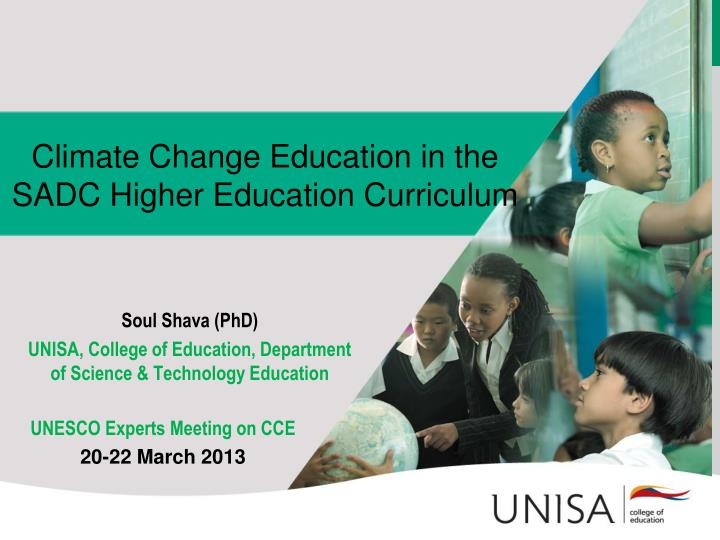 Climate change education in the sadc higher education curriculum