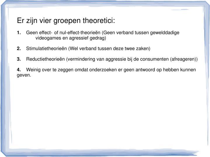 Er zijn vier groepen theoretici: