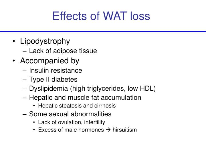 Effects of WAT loss