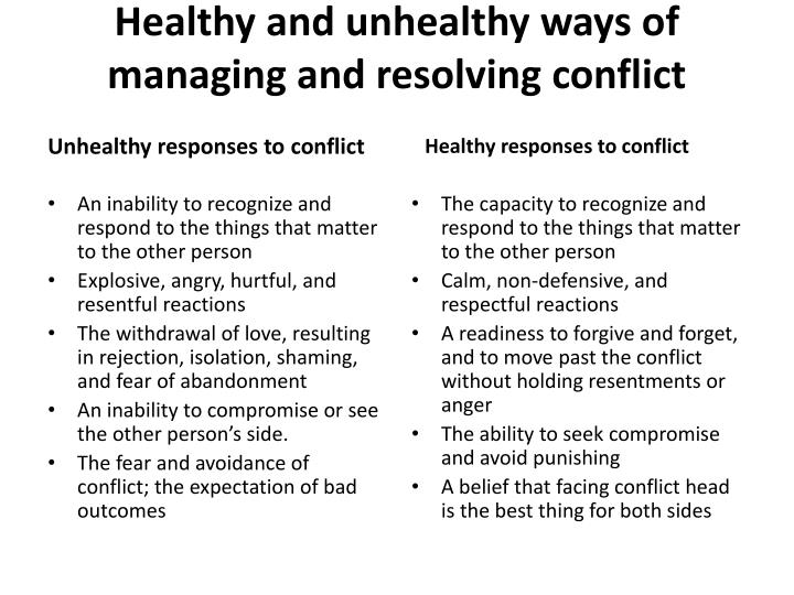 Healthy and unhealthy ways of managing and resolving conflict