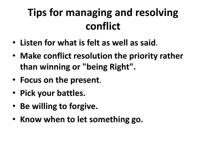 Tips for managing and resolving conflict