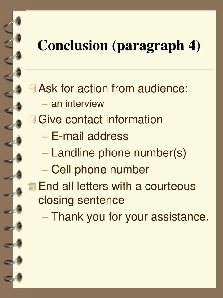 Conclusion (paragraph 4)