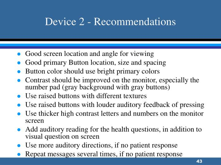 Device 2 - Recommendations