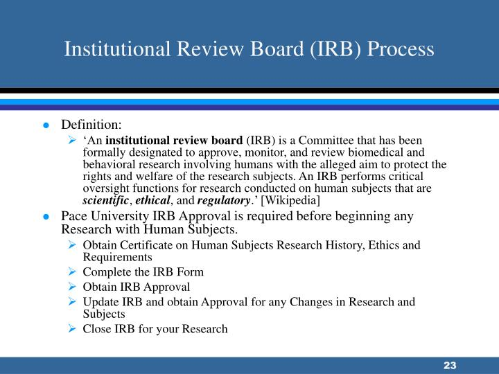 Institutional Review Board (IRB) Process