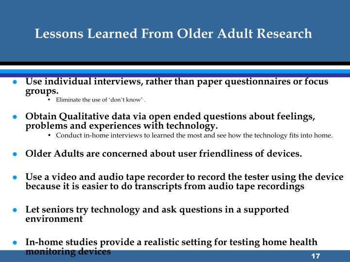 Lessons Learned From Older Adult Research