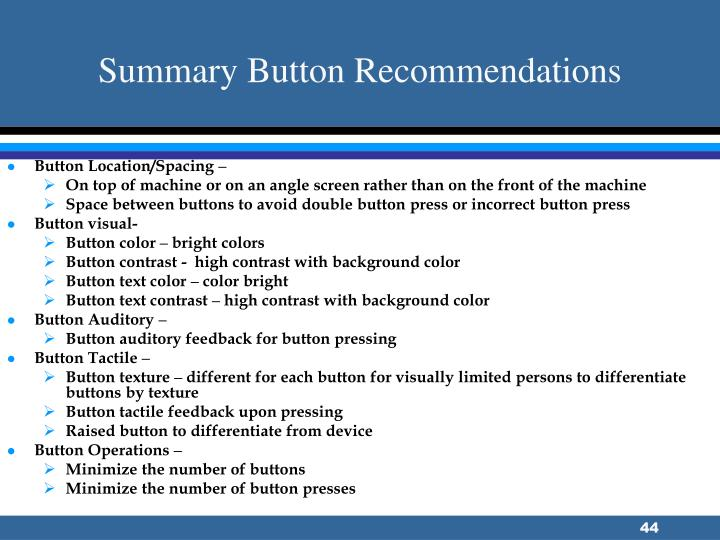 Summary Button Recommendations