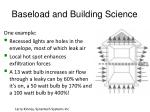 baseload and building science