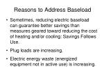 reasons to address baseload