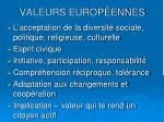 valeurs europ ennes