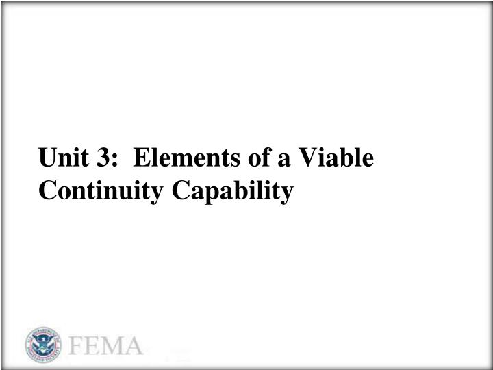 unit 3 elements of a viable continuity capability n.