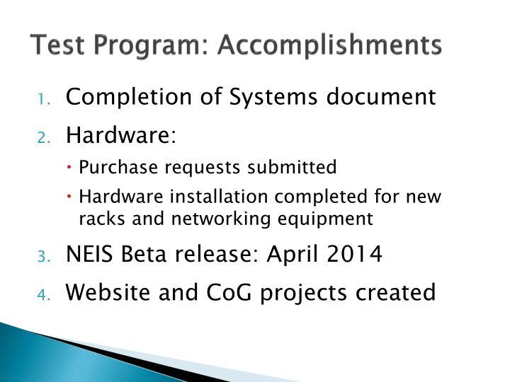 Test program accomplishments