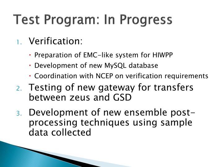 Test program in progress