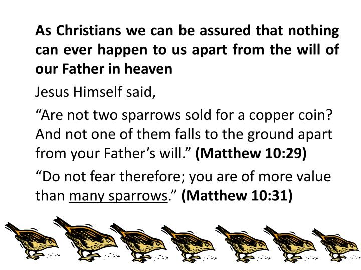 As Christians we can be assured that nothing can ever happen to us apart from the will of our Father in heaven