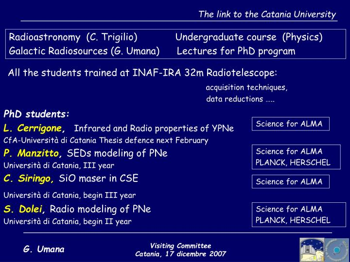 The link to the Catania University