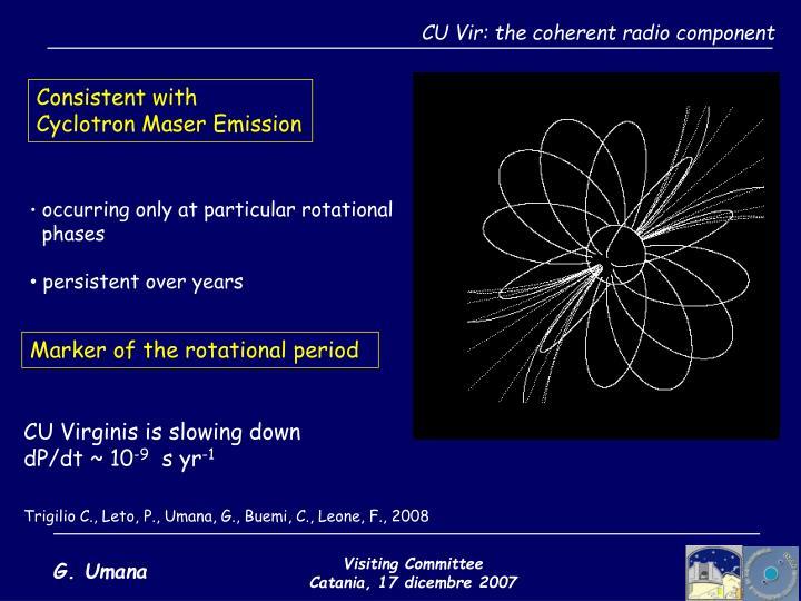 CU Vir: the coherent radio component