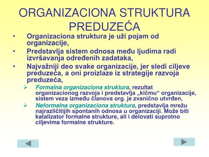 ORGANIZACIONA STRUKTURA PREDUZEĆA