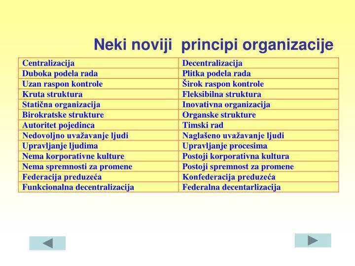 Neki noviji  principi organizacije