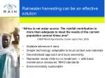 rainwater harvesting can be an effective solution
