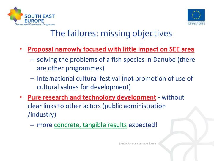 The failures: missing objectives