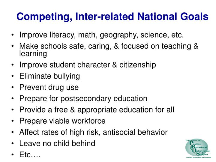 Competing, Inter-related National Goals