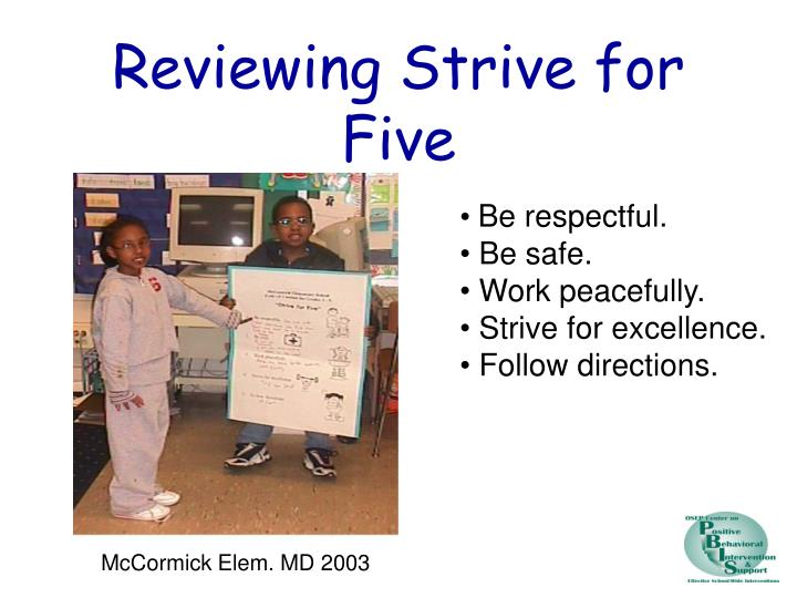 Reviewing Strive for Five