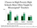 classes in high poverty high schools more often taught by misassigned teachers