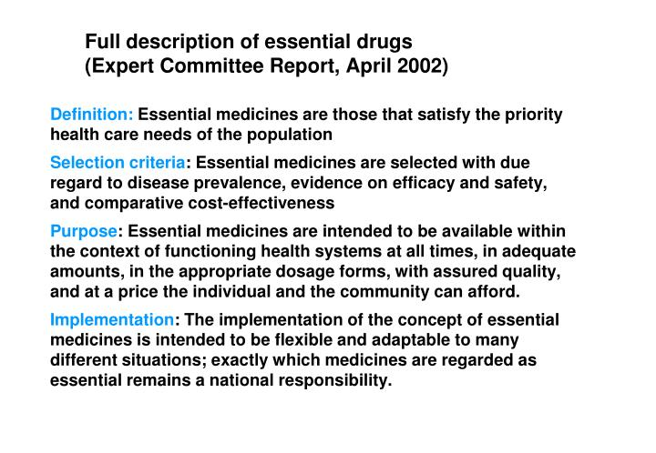 availability of essential drugs