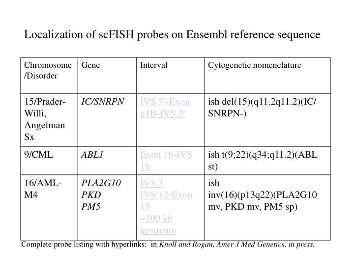 Localization of scFISH probes on Ensembl reference sequence